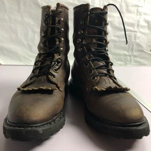 Wolverine woman's brown leather lace up boots 6.5